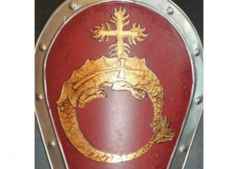 Large Medieval Order of the Dragon Shield handcrafted handpainted
