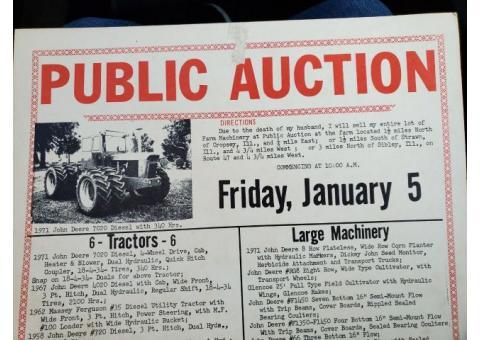 Vintage Local Farm Auction Sign/Poster