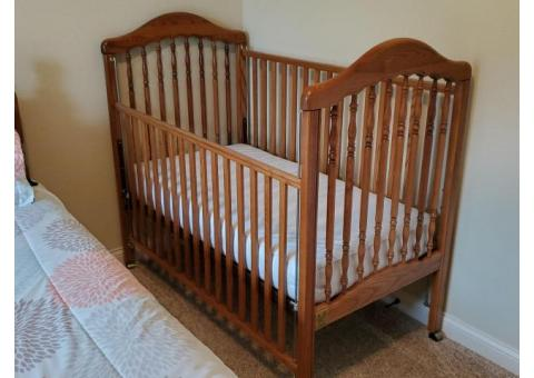 Crib, Crib Mattress and Changing Table