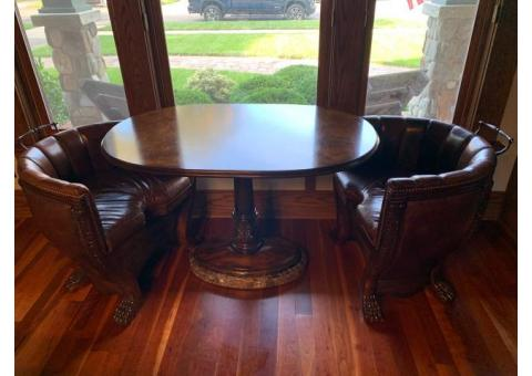 Maitland-Smith Gamesman Occasional Table with Upholstered Chairs